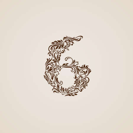 richly: Richly decorated six digit on beige background.