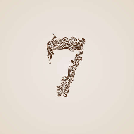 richly: Richly decorated seven digit on beige background.