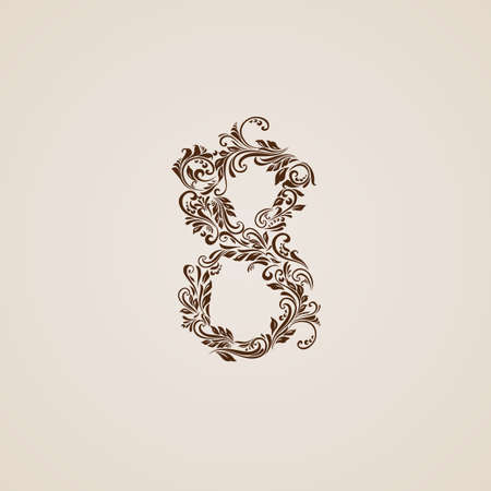 Richly decorated eight digit on beige background. Vector