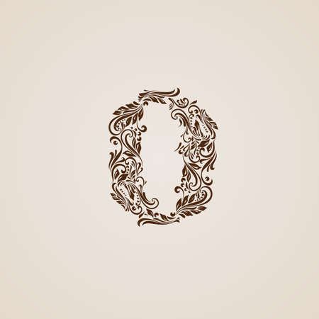 richly decorated: Richly decorated zero digit on beige background.