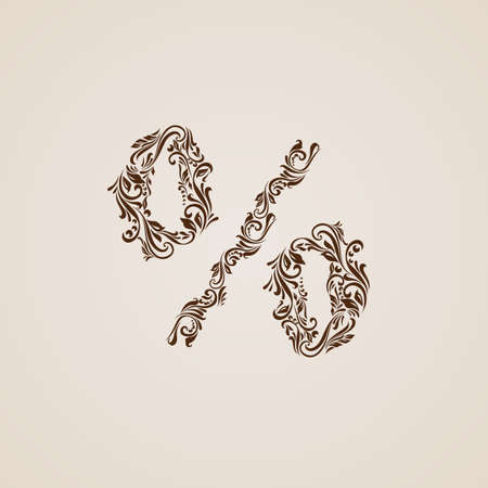 richly: Richly decorated brown percent sign with twirls.