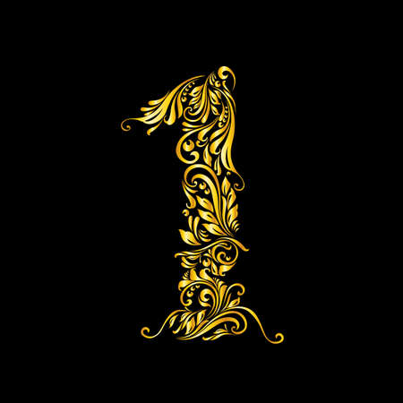 richly: Richly decorated one digit on black background.