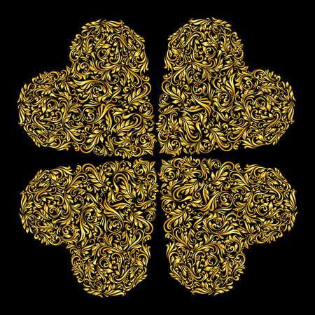 repujado: Decorativos cuatro corazones de los ricos ornamentos de oro