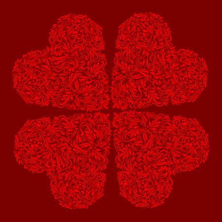 repujado: Decorativos cuatro corazones de los ricos adornos rojos Vectores
