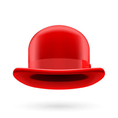 derby hat: Red round traditional hat with hatband on white background. Illustration