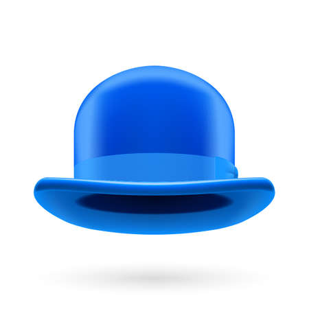 hatband: Blue round traditional hat with hatband on white background.