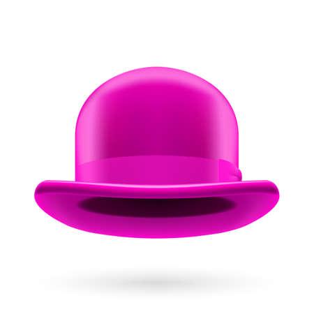 hatband: Magenta round traditional hat with hatband on white background.
