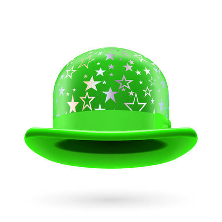 hatband: Green round bowler hat with silver glistening stars. Illustration