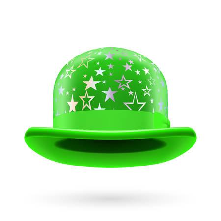 glistening: Verde bomb�n redondo con estrellas brillantes de plata. Vectores