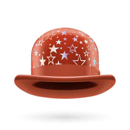 bowler hat: Brown round bowler hat with silver glistening stars. Illustration