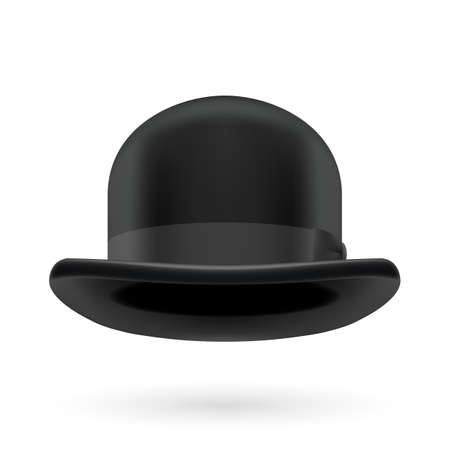 derby hat: Black round traditional hat with hatband on white background.