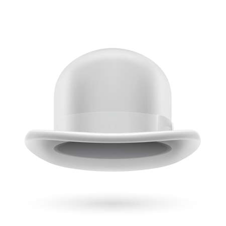 derby hat: White round traditional hat with hatband on white background.