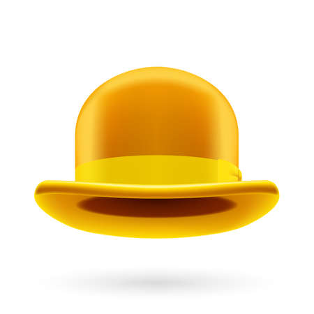 fedora hat: Yellow round traditional hat with hatband on white background. Illustration