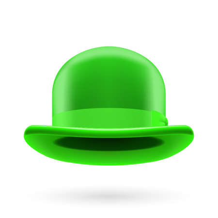 derby hats: Green round traditional hat with hatband on white background.