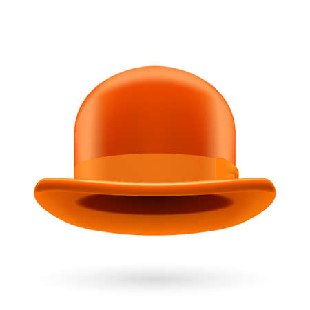 derby hats: Orange round traditional hat with hatband on white background.