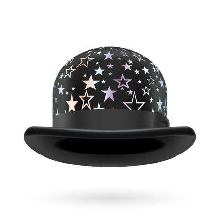 hatband: Black round bowler hat with silver glistening stars. Illustration