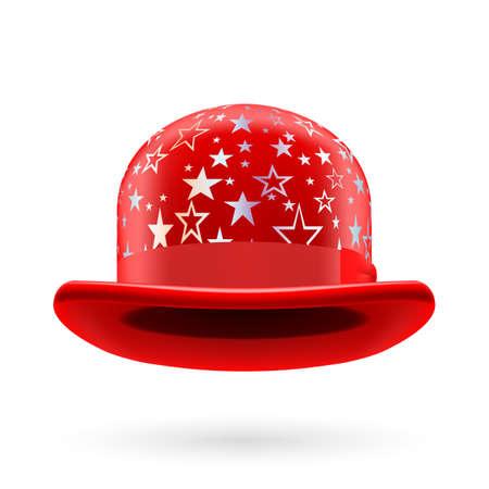 hatband: Red round bowler hat with silver glistening stars. Illustration