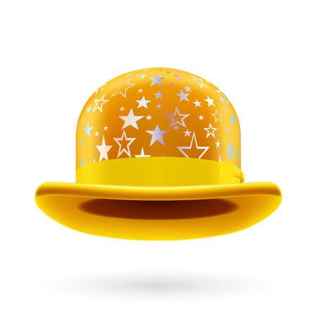 glistening: Amarillo bomb�n redondo con estrellas brillantes de plata.