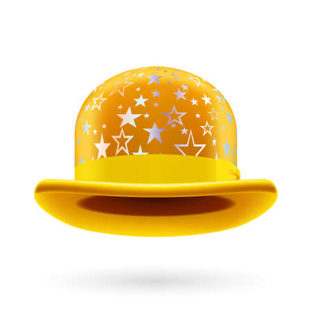 hatband: Yellow round bowler hat with silver glistening stars. Illustration
