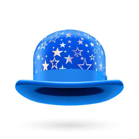 hatband: Blue round bowler hat with silver glistening stars.