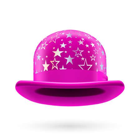hatband: Magenta round bowler hat with silver glistening stars.