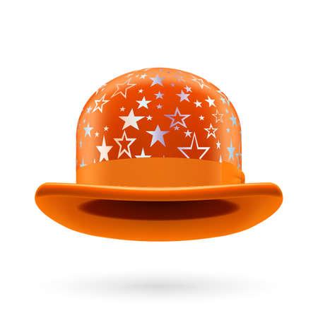 bowler hat: Orange round bowler hat with silver glistening stars.