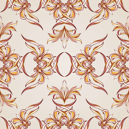 pastel shades: Seamless floral pattern with elements weaving. Illustration in burgundy, pink, light brown and yellow shades on pastel rose pink background Illustration