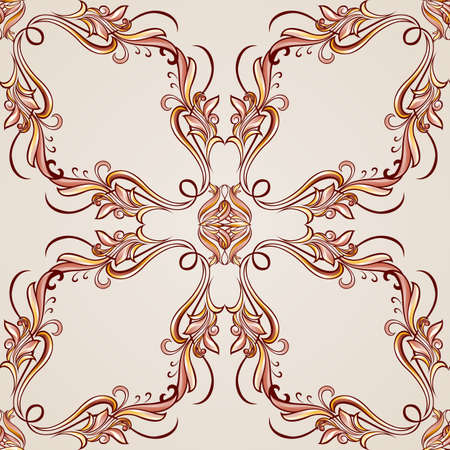 Seamless pattern with ornate floral elements in brown and rose pink shades Vector