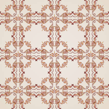 Seamless pattern with ornate florid elements in brown and rose pink shades Vector