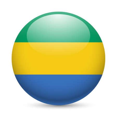 gabon: Flag of  Gabon as round glossy icon. Button with  Gabonese flag Illustration