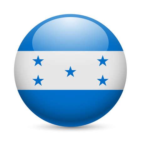 bandera honduras: Bandera de Honduras como redonda icono brillante. Botón con bandera hondureña Vectores