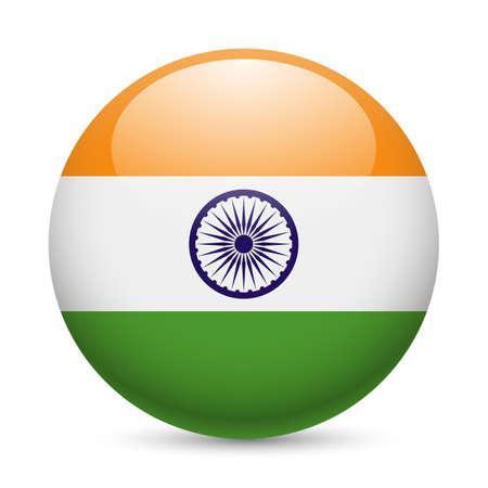 bandera de LA INDIA: Bandera de la India como ronda icono brillante. Botón con la bandera de la India Vectores