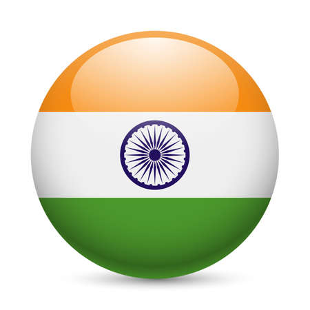 india people: Flag of India as round glossy icon. Button with Indian flag