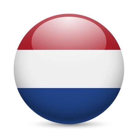 丸い光沢のあるアイコンとしてオランダの旗。オランダ国旗のボタン  イラスト・ベクター素材