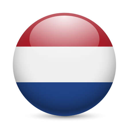 Flag of Netherlands as round glossy icon. Button with Dutch flag Çizim