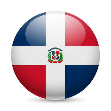 Flag of Dominican Republic as round glossy icon. Button with flag design Vector