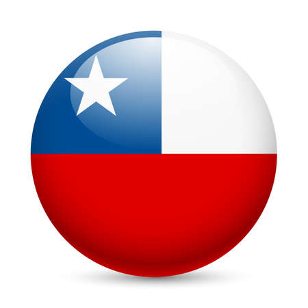 Flag of Chile as round glossy icon. Button with Chilean flag