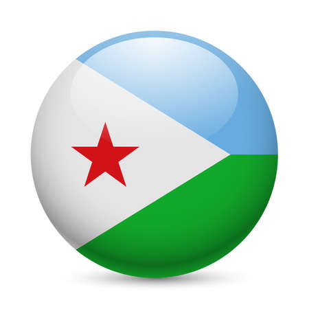 Flag of Djibouti as round glossy icon. Button with Djiboutian flag Illustration