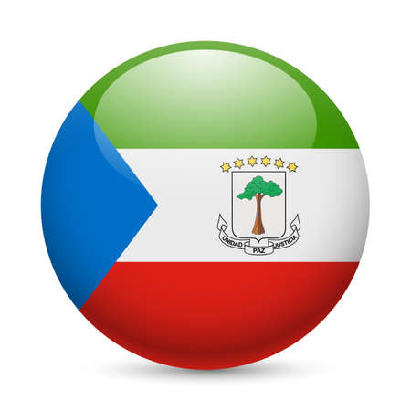 Bandera de Guinea Ecuatorial como redonda icono brillante. Botón con diseño de la bandera