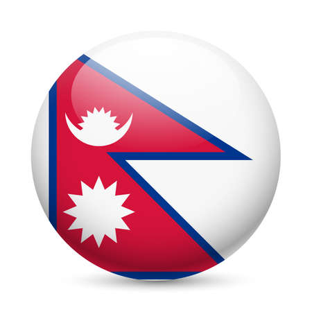Flag of Nepal as round glossy icon. Button with Nepalese flag Stock Vector - 29069050