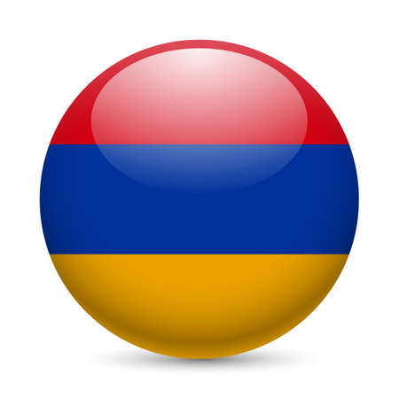 armenian: Flag of Armenia as round glossy icon. Button with Armenian flag Illustration