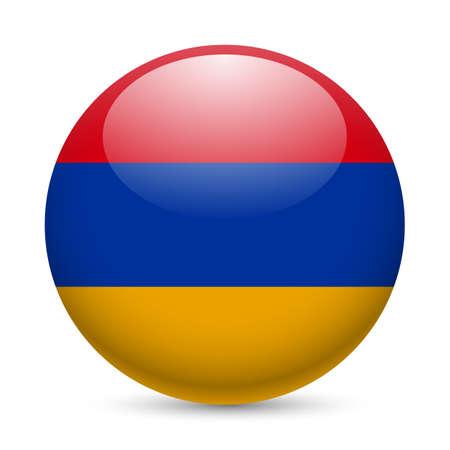 armenia: Flag of Armenia as round glossy icon. Button with Armenian flag Illustration