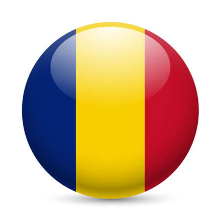 Flag of Romania as round glossy icon. Button with Romanian flag