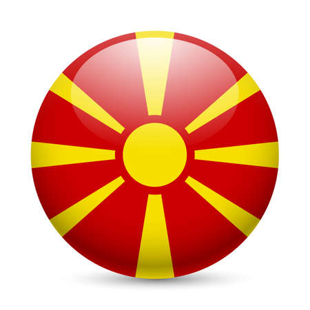 Flag of Macedonia as round glossy icon. Button with Macedonian flag Vector