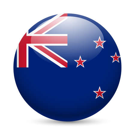 blue button: Flag of New Zealand as round glossy icon. Button with flag colors