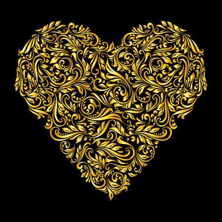 richly: Decorative heart of richly  golden ornament on black