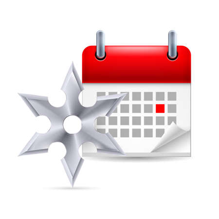 Page calendar with a marked red-letter day of the week. Near to shuriken Vector