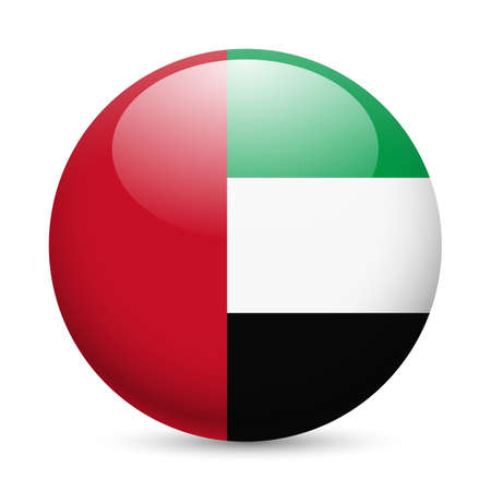 Flag of United Arab Emirates as round glossy icon. Button with flag design