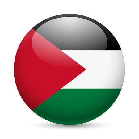 palestine: Flag of Palestine as round glossy icon. Button with Palestinian flag Illustration