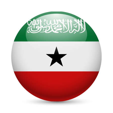Flag of Somaliland as round glossy icon. Button with flag colors Vector